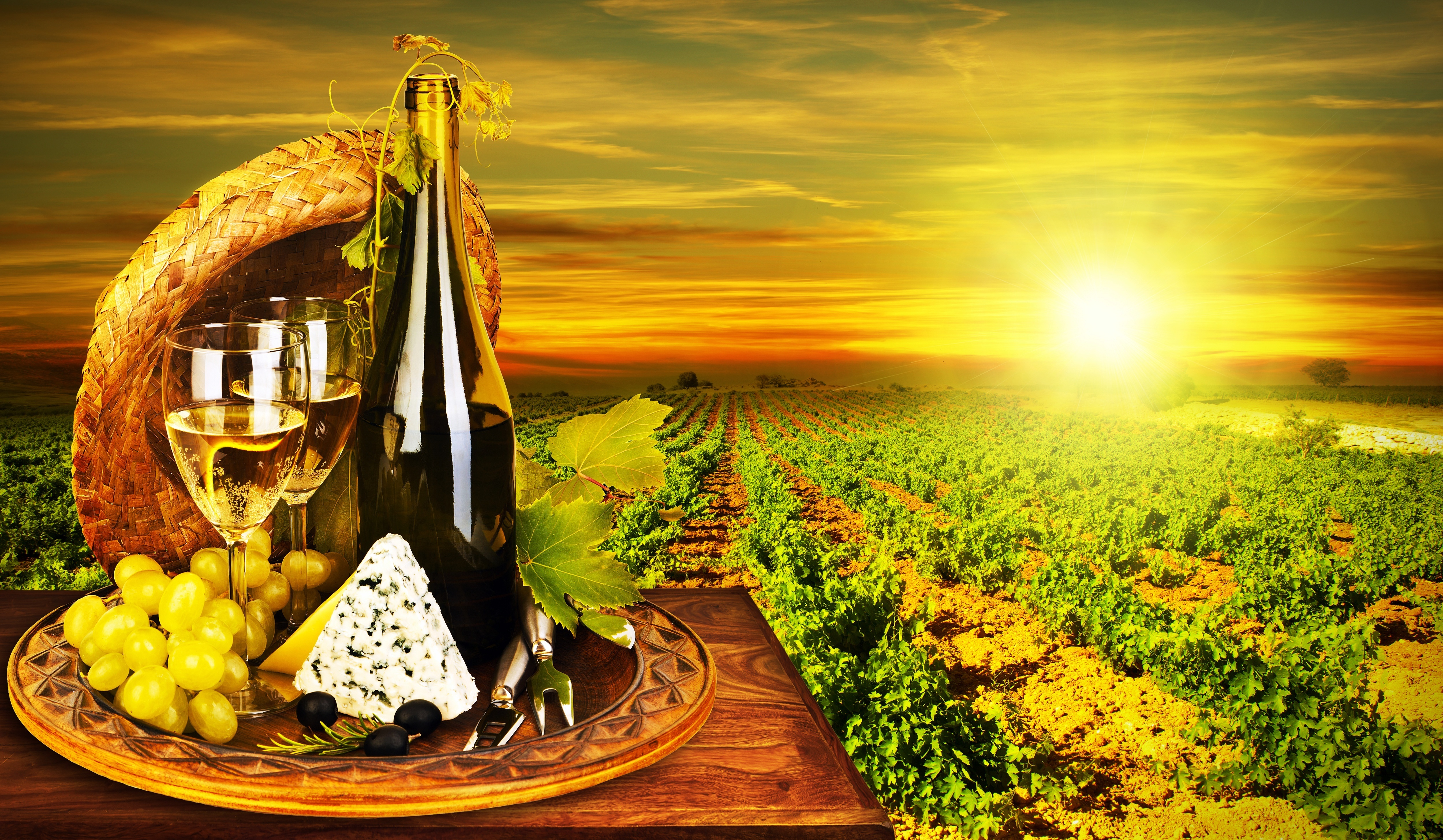 Food - Wine White Wine Grapes Bottle Cheese Dor Blue Vineyard Sun ...: wall.alphacoders.com/big.php?i=291131