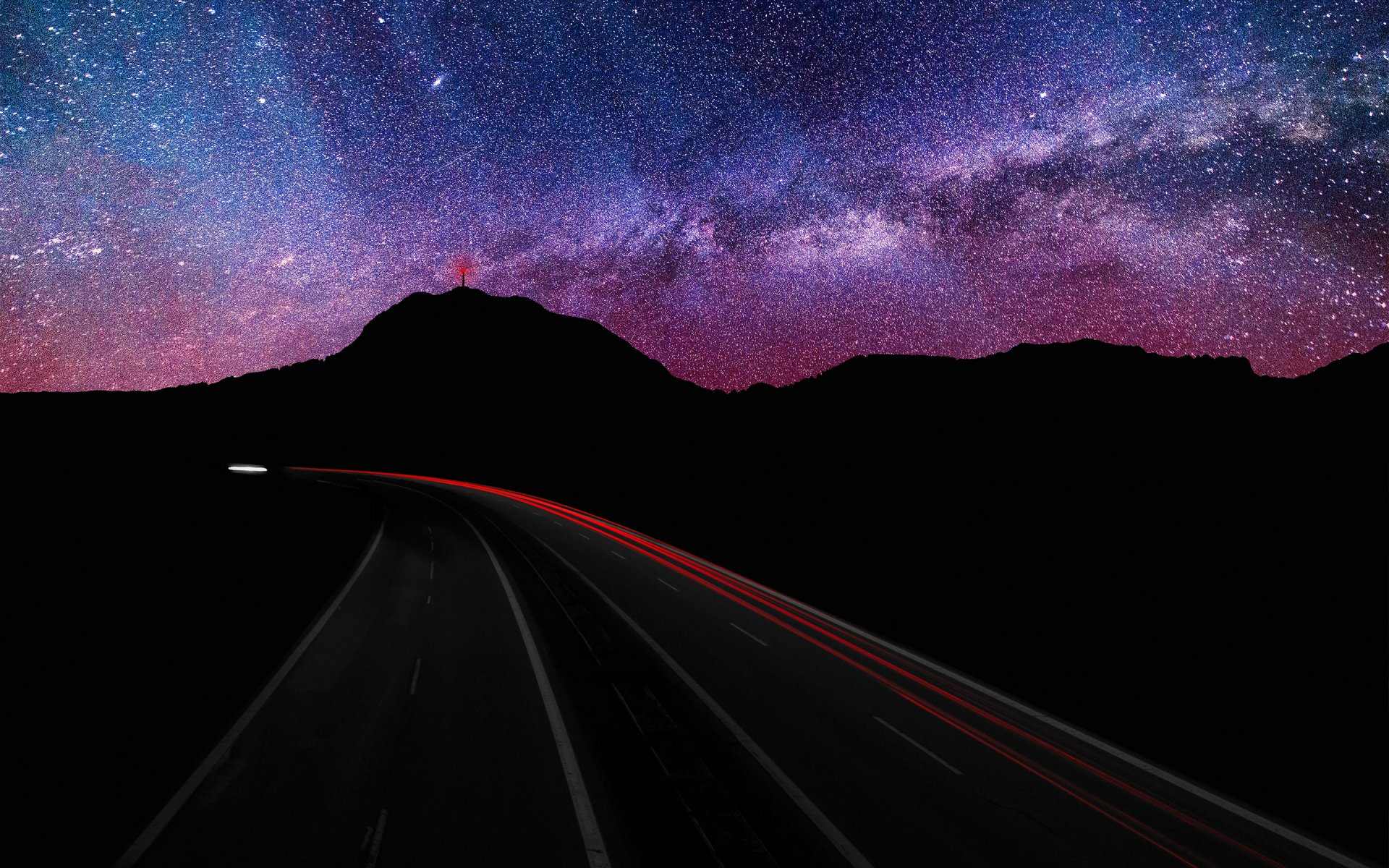 Sci Fi - Stars  Night Road Silhouette Mountain Time-Lapse Milky Way Wallpaper