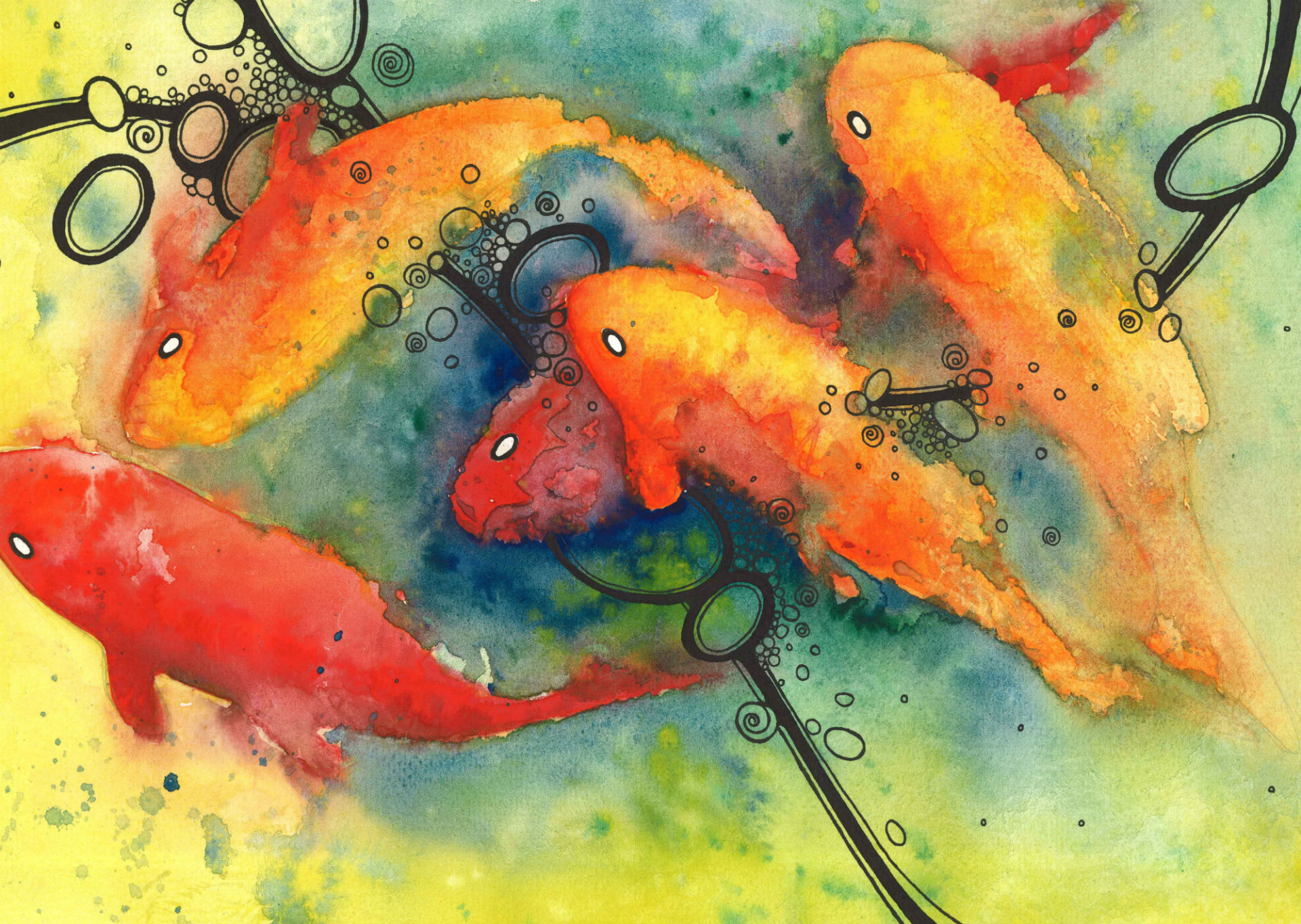 Fish full hd wallpaper and background image 1920x1364 for Koi fish wallpaper for walls