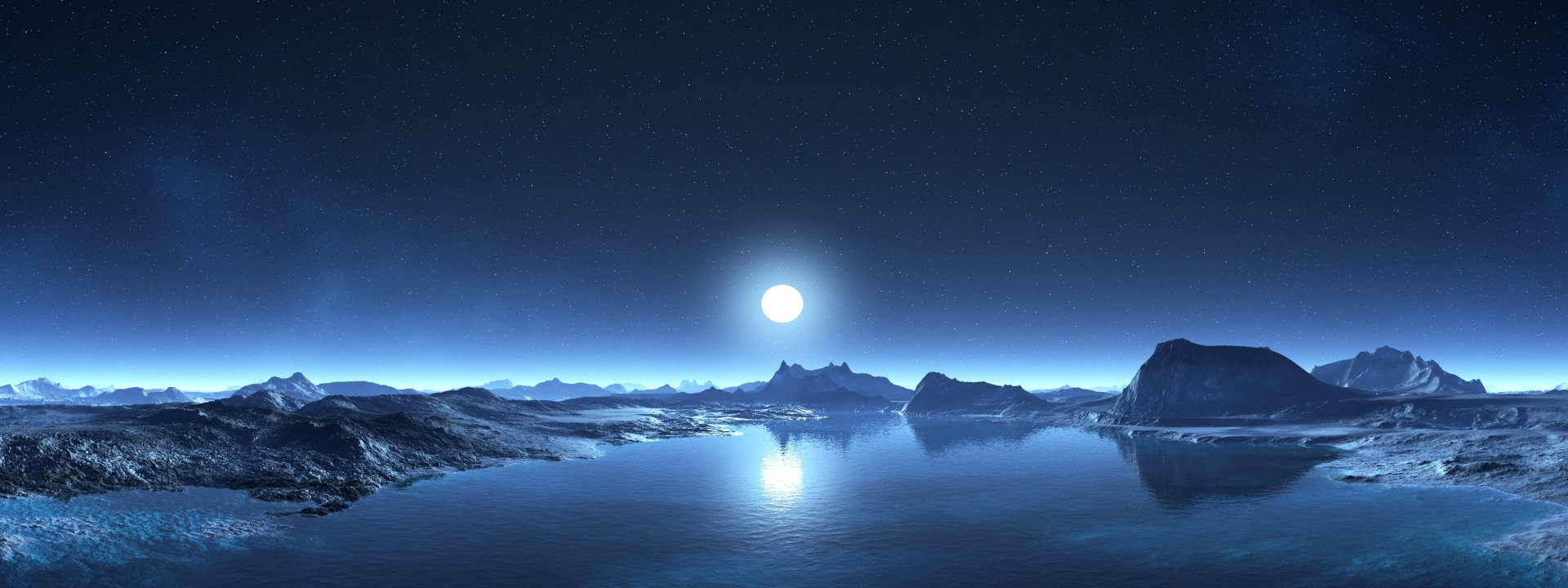 Multi Monitor - Space  Mountain Lake Shiver Moonrise Blue Cold Wallpaper
