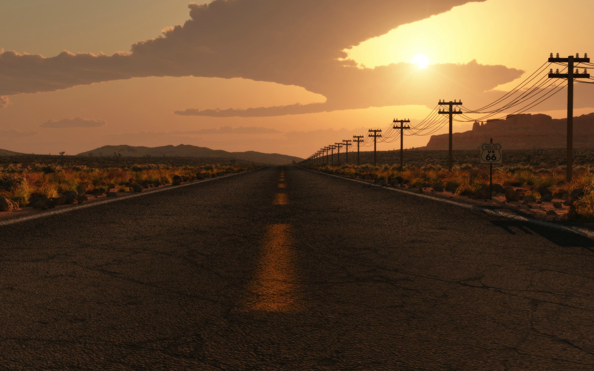 Road Sunset Wallpaper Sunset Road Full HD Wa...