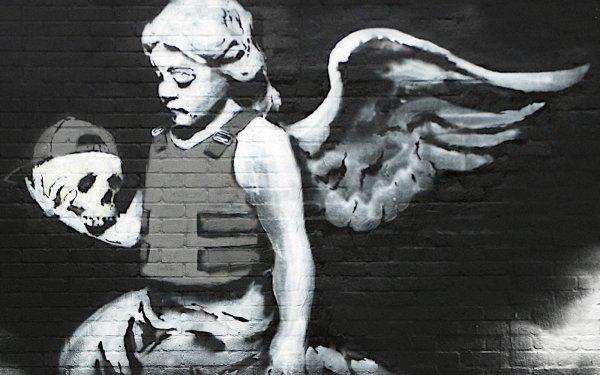 Artistic Graffiti Dark Anarchy Urban Style Angel Skull HD Wallpaper | Background Image