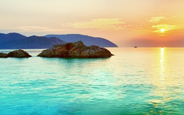 Tierra/Naturaleza Atardecer Panorama Paisaje Horizon Rock Isla Agua Sea Sol Cielo Turquesa Fondo de pantalla HD | Fondo de Escritorio