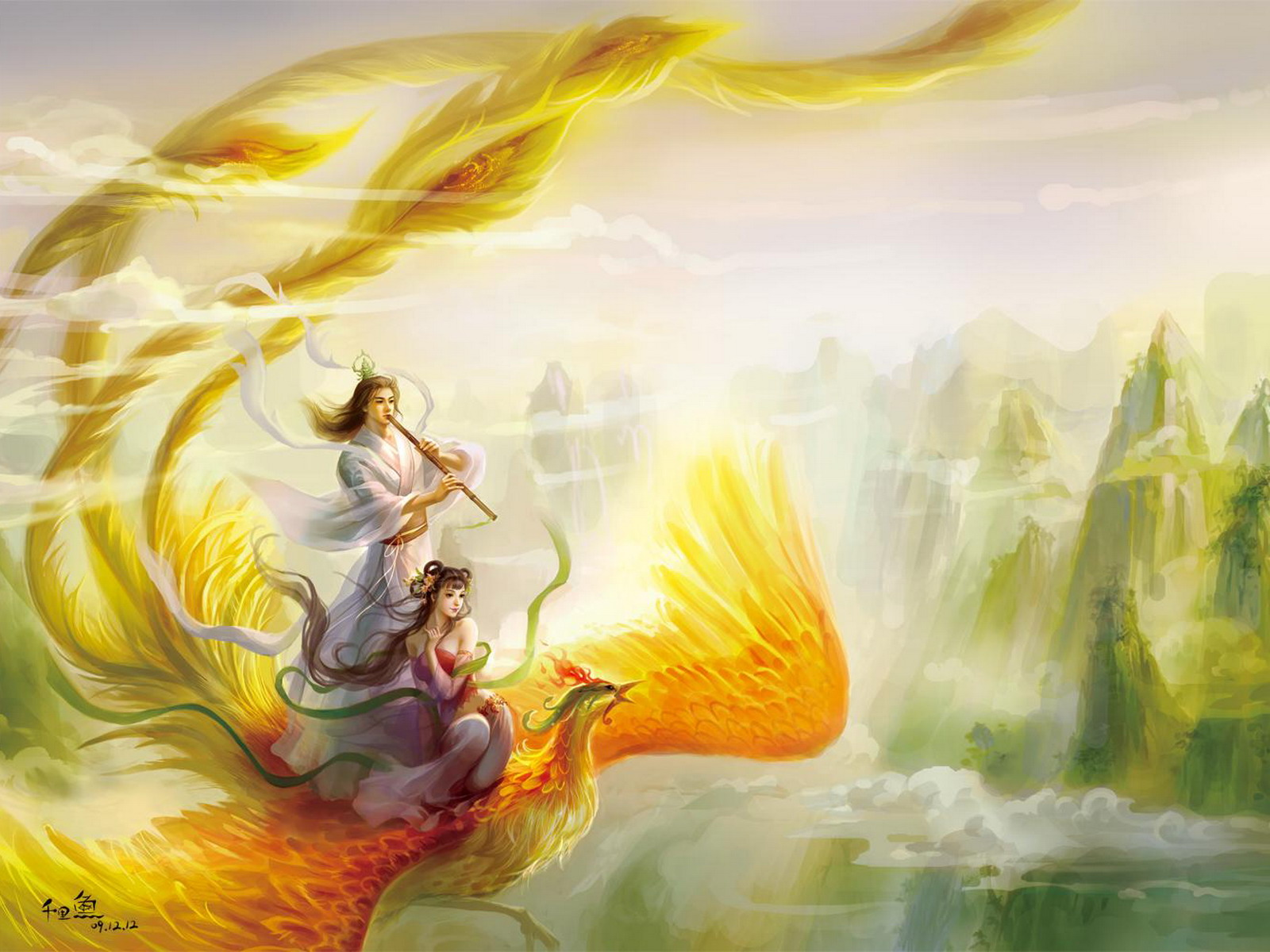 Riding the phoenix wallpaper and background 1600x1200 for Oriental wallpaper