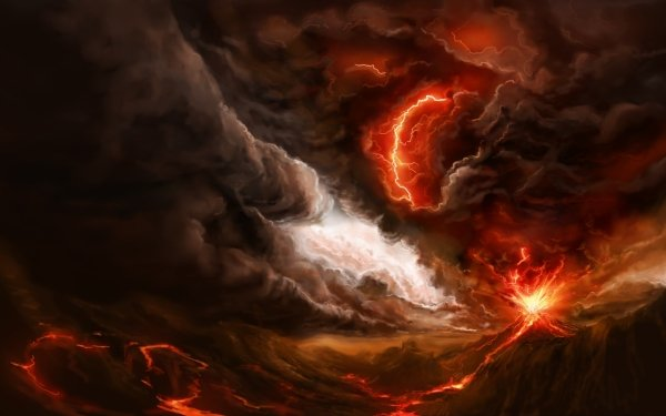 Fantasy Landscape Volcano Lava Apocalyptic HD Wallpaper   Background Image