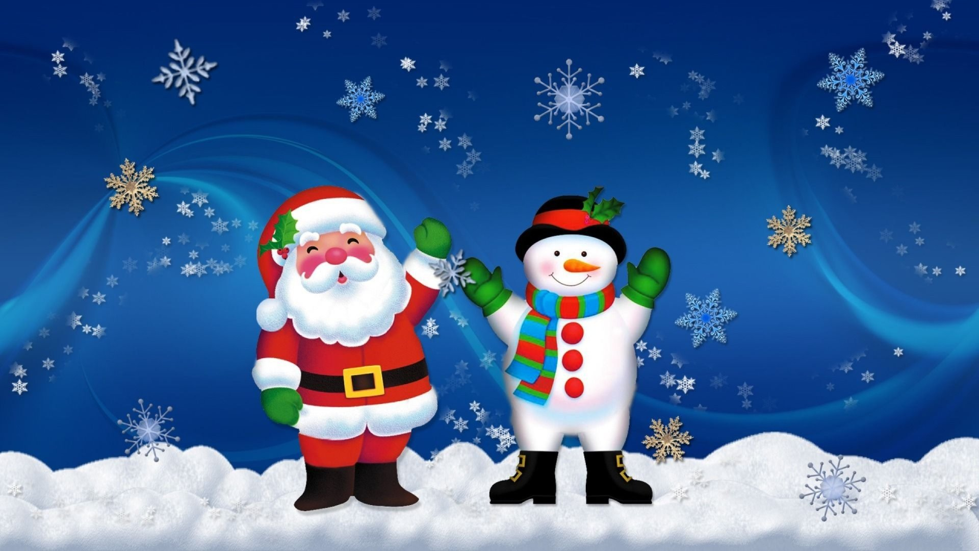 Holiday - Christmas  Snowman Santa Snowflake Wallpaper
