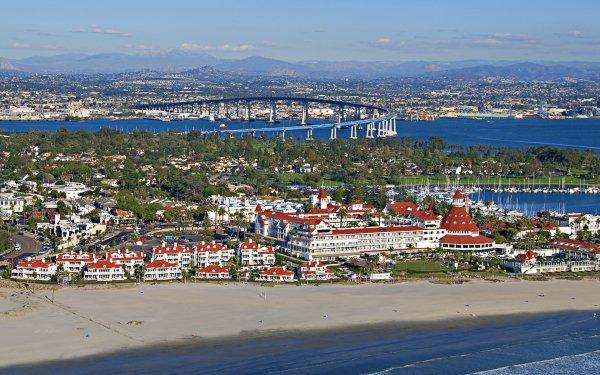 Man Made City Cities USA California San Diego Town Beach Coranado Island HD Wallpaper | Background Image