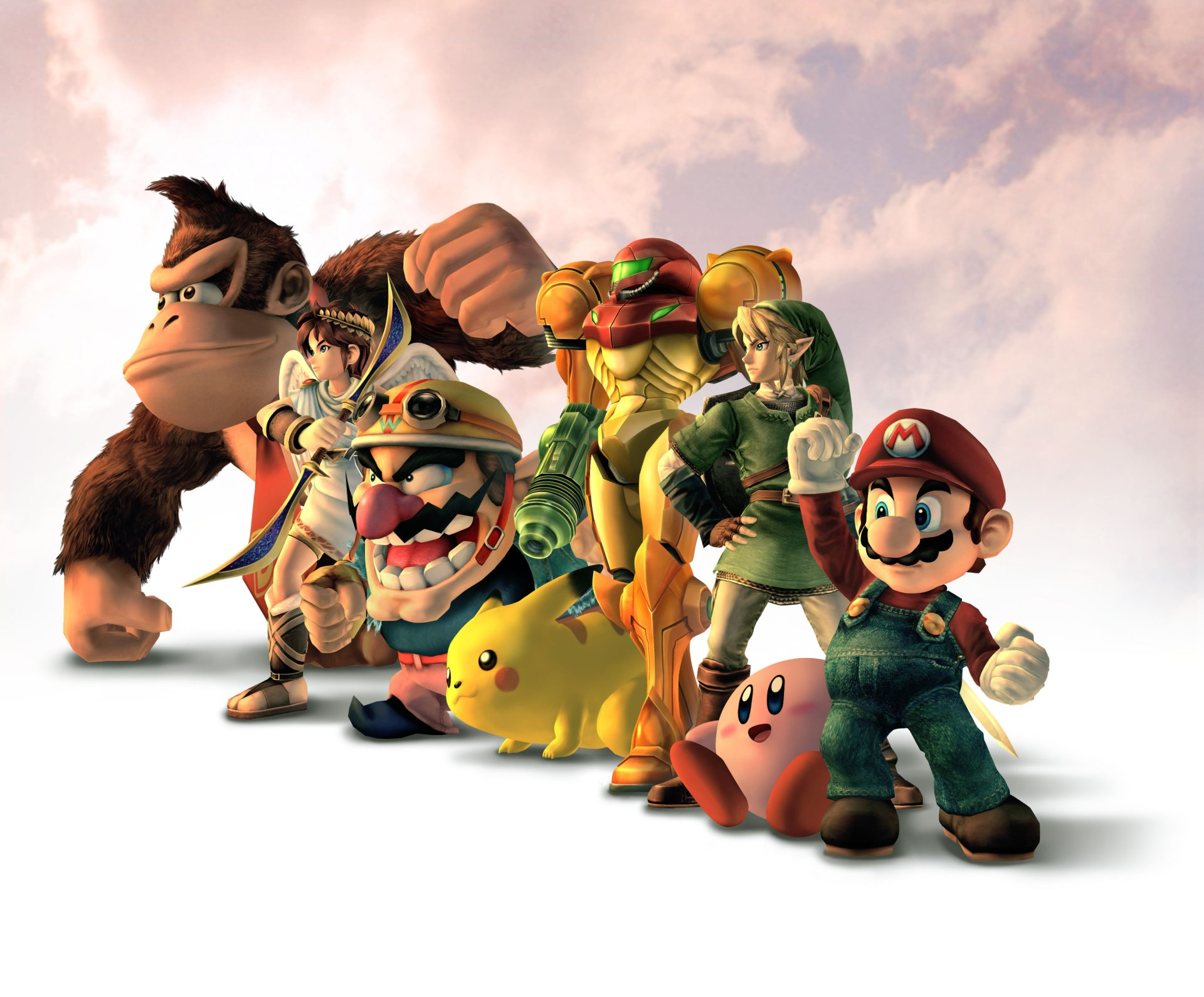 Video Game - Super Smash Bros.  Donkey Kong Wario Pikachu Kirby Mario Link Samus Aran Wallpaper