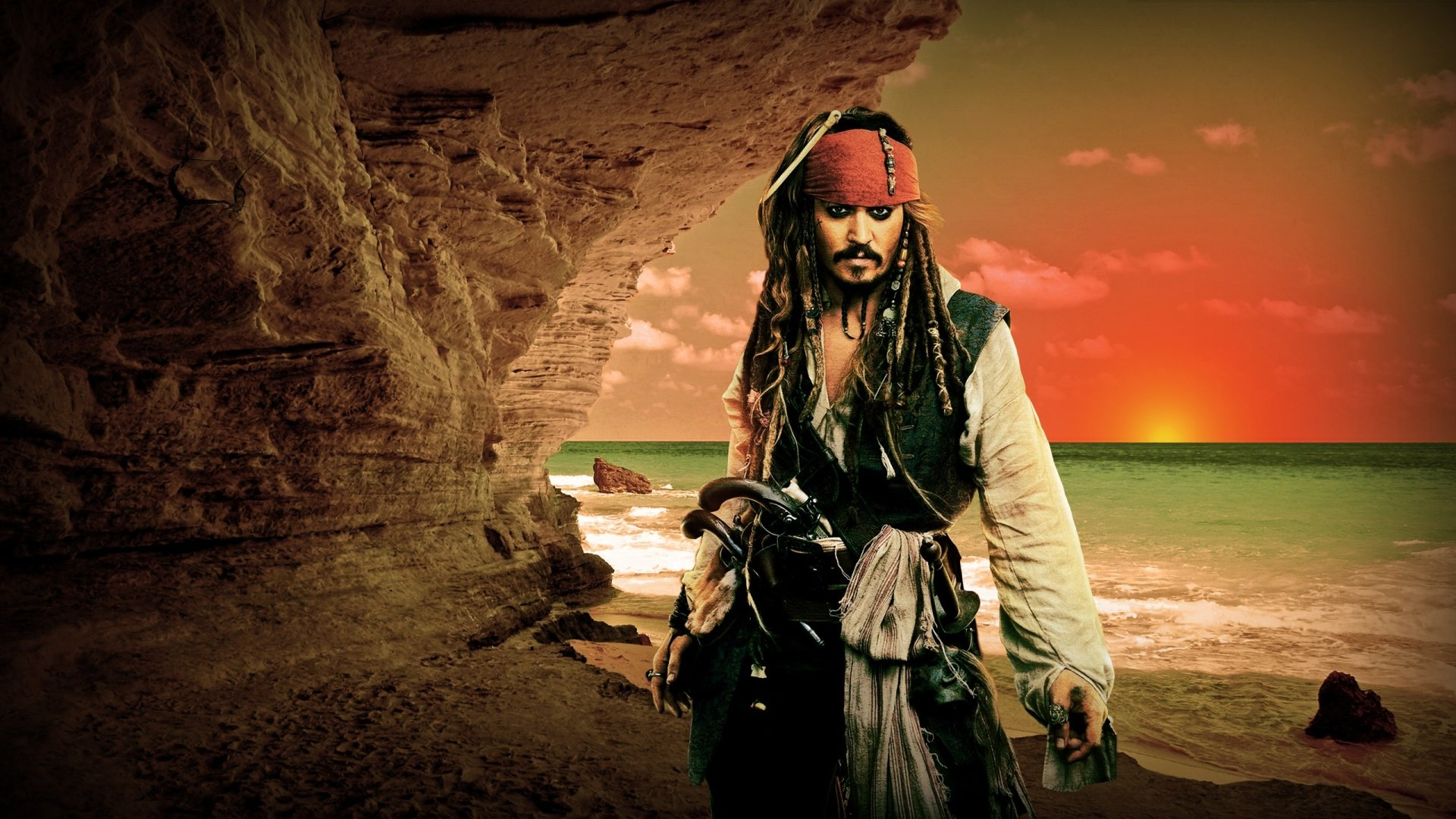 Movie - Pirates Of The Caribbean  Jack Sparrow Pirate Johnny Depp Wallpaper