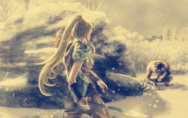 Fantasy Battle Runescape Woman Warrior Sword Weapon Werewolf HD Wallpaper | Background Image