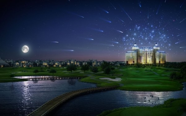Artistic Building Buildings CGI Town Lake Golf Course Bridge HD Wallpaper | Background Image