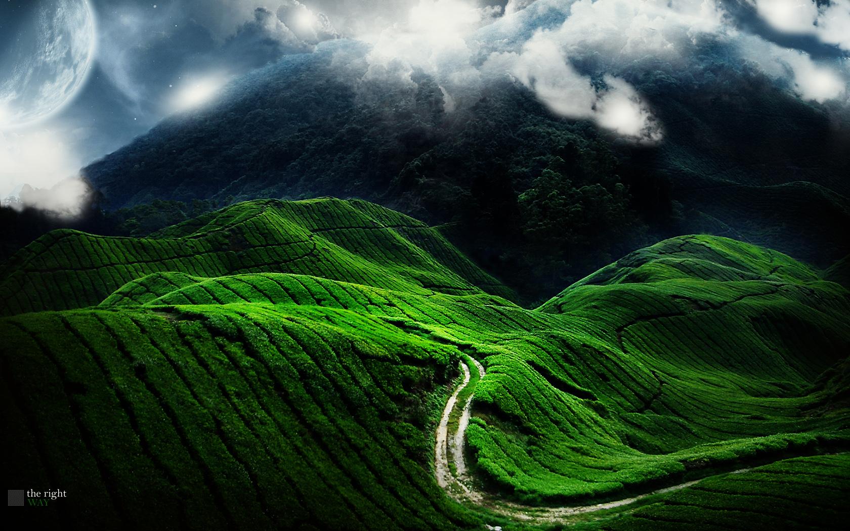 Man Made - Väg  Månen Landskap Grön Hill Bakgrund
