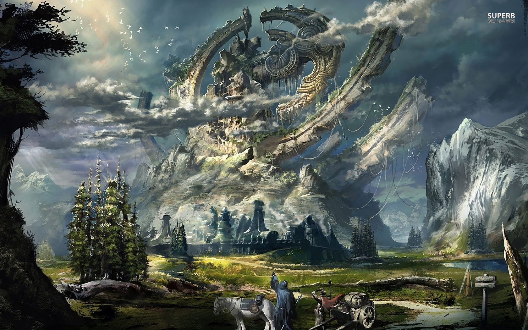 Landscape wallpaper and background image 1680x1050 id - Fantasy scenery wallpaper ...