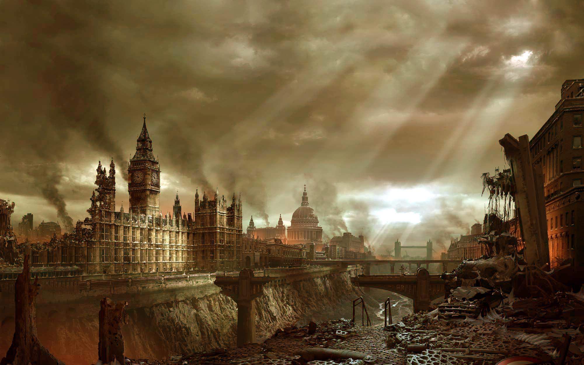 Apocalypse City Fire Sci Fi Post Apocalyptic