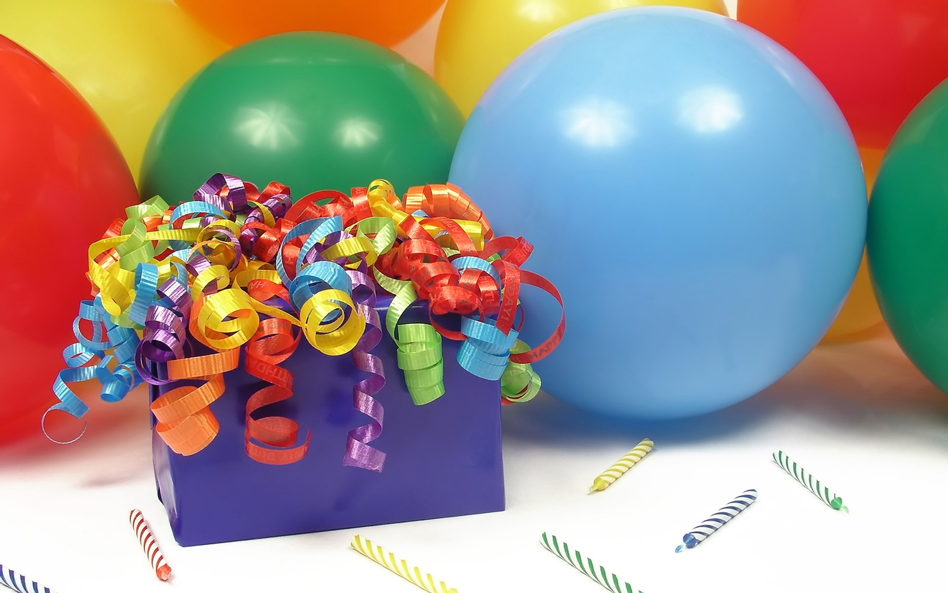 Holiday - Birthday  Satin Colorful Ribbon Balloon Wallpaper