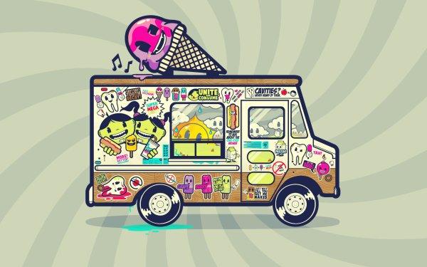 Vehicles Ice Cream Truck Truck Van Ice Cream HD Wallpaper | Background Image