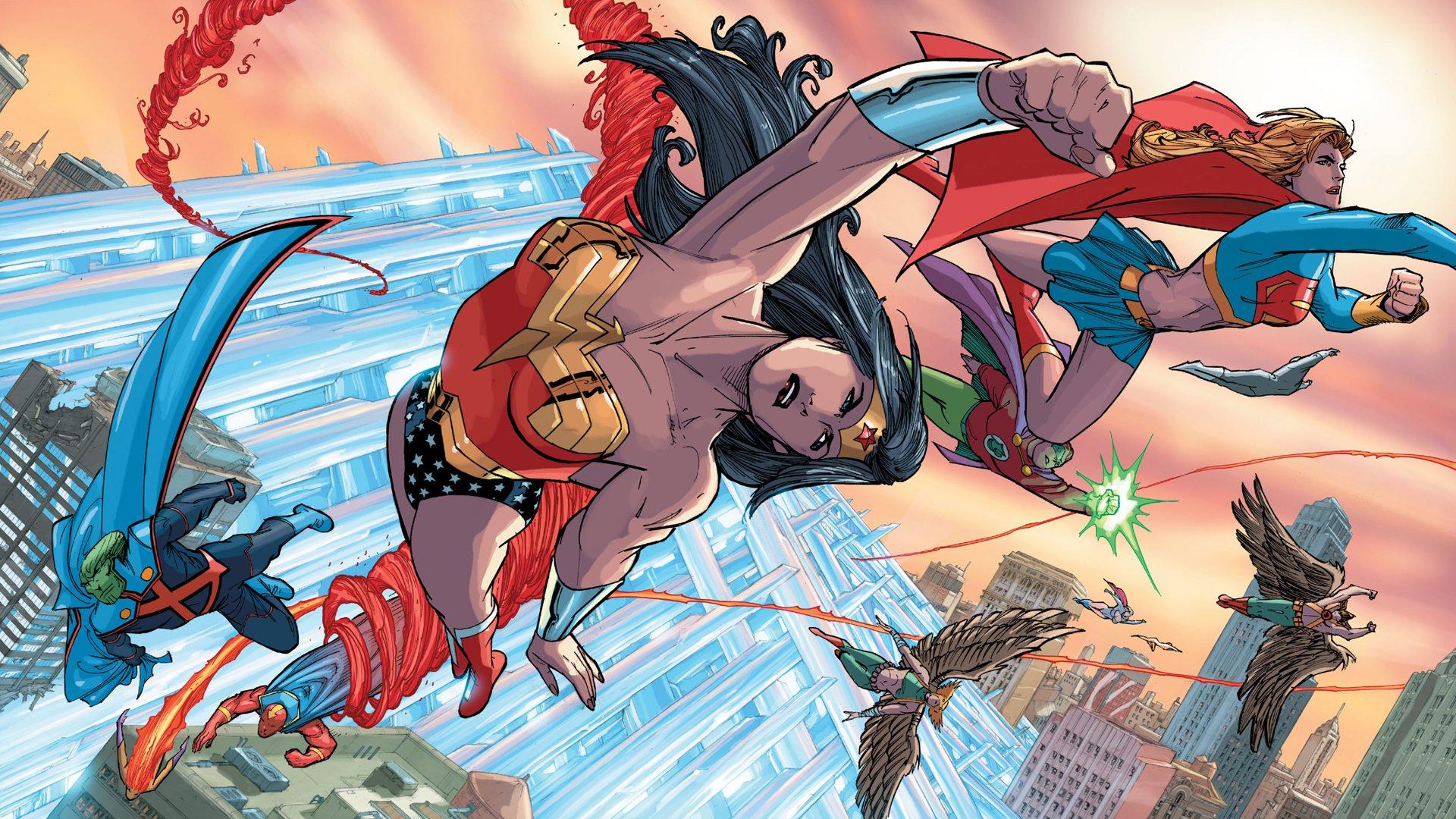 Comics - Justice League Of America  Martian Manhunter Wonder Woman Hawkgirl Green Lantern Supergirl Hawkman Wallpaper