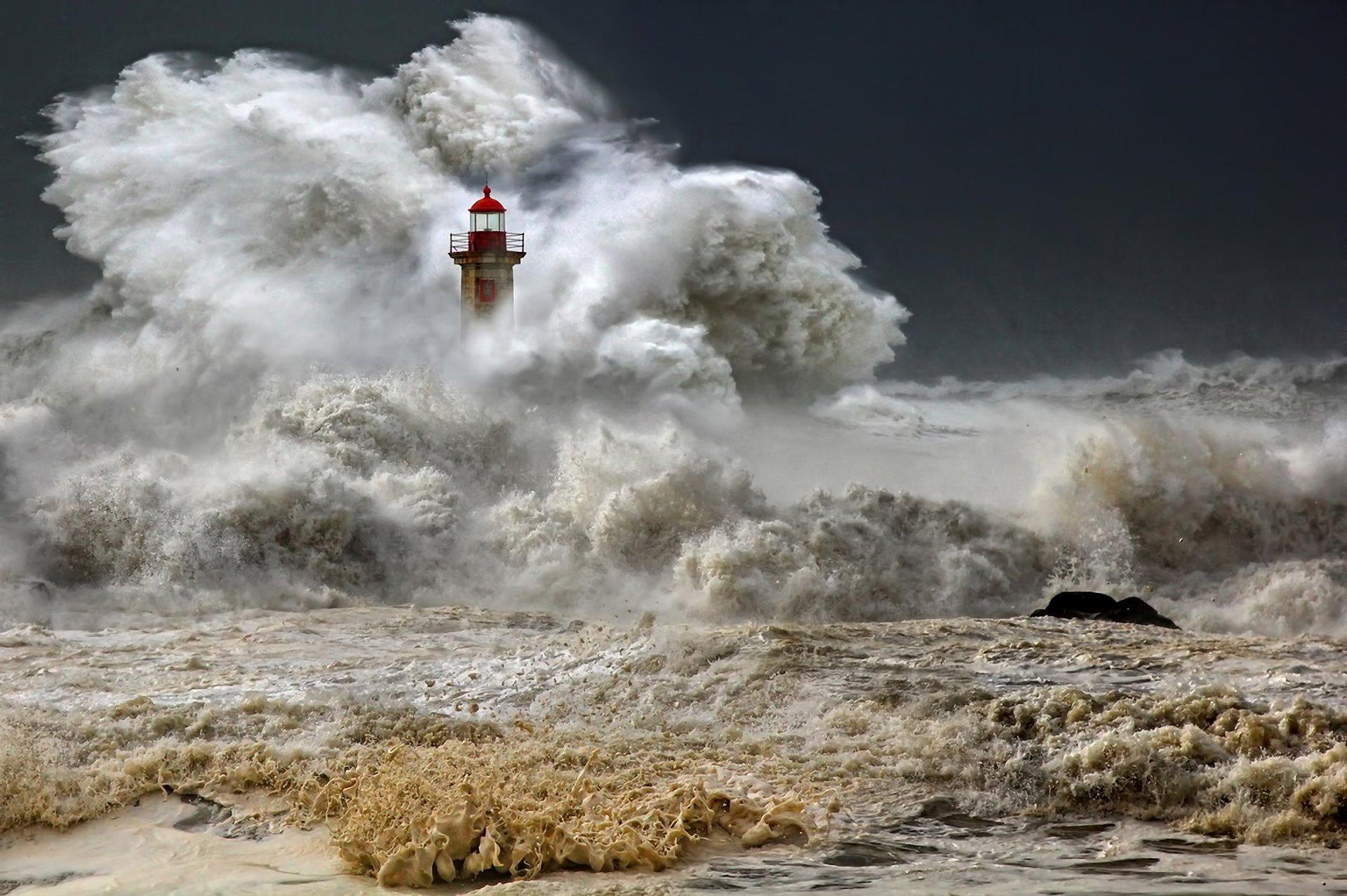 Man Made - Lighthouse  Storm Ocean Sea Wave Wallpaper