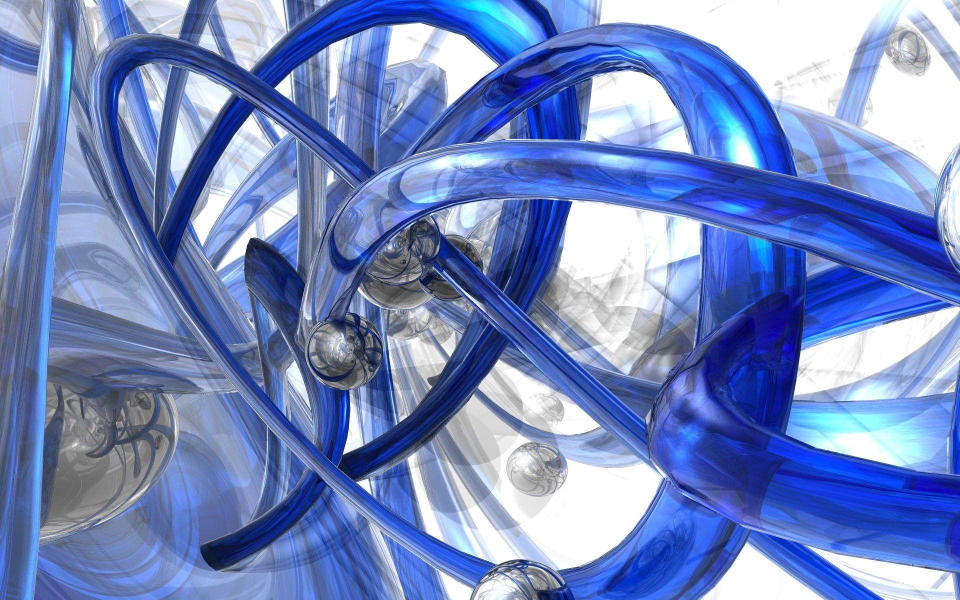 Abstract - Blue  Artistic Abstract 3D CGI Digital Art Wallpaper