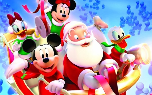 Holiday Christmas Santa Mickey Mouse Minnie Mouse Donald Duck Daisy Duck HD Wallpaper | Background Image