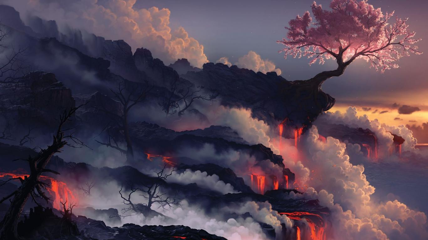 Volcano Wallpaper And Background Image 1366x768 Id