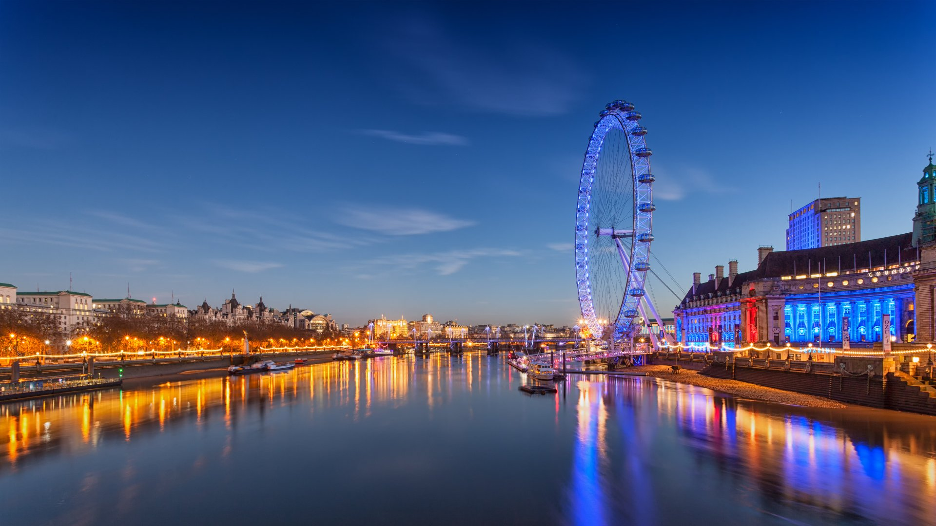 Man Made - London Eye  Night Building River London Wallpaper