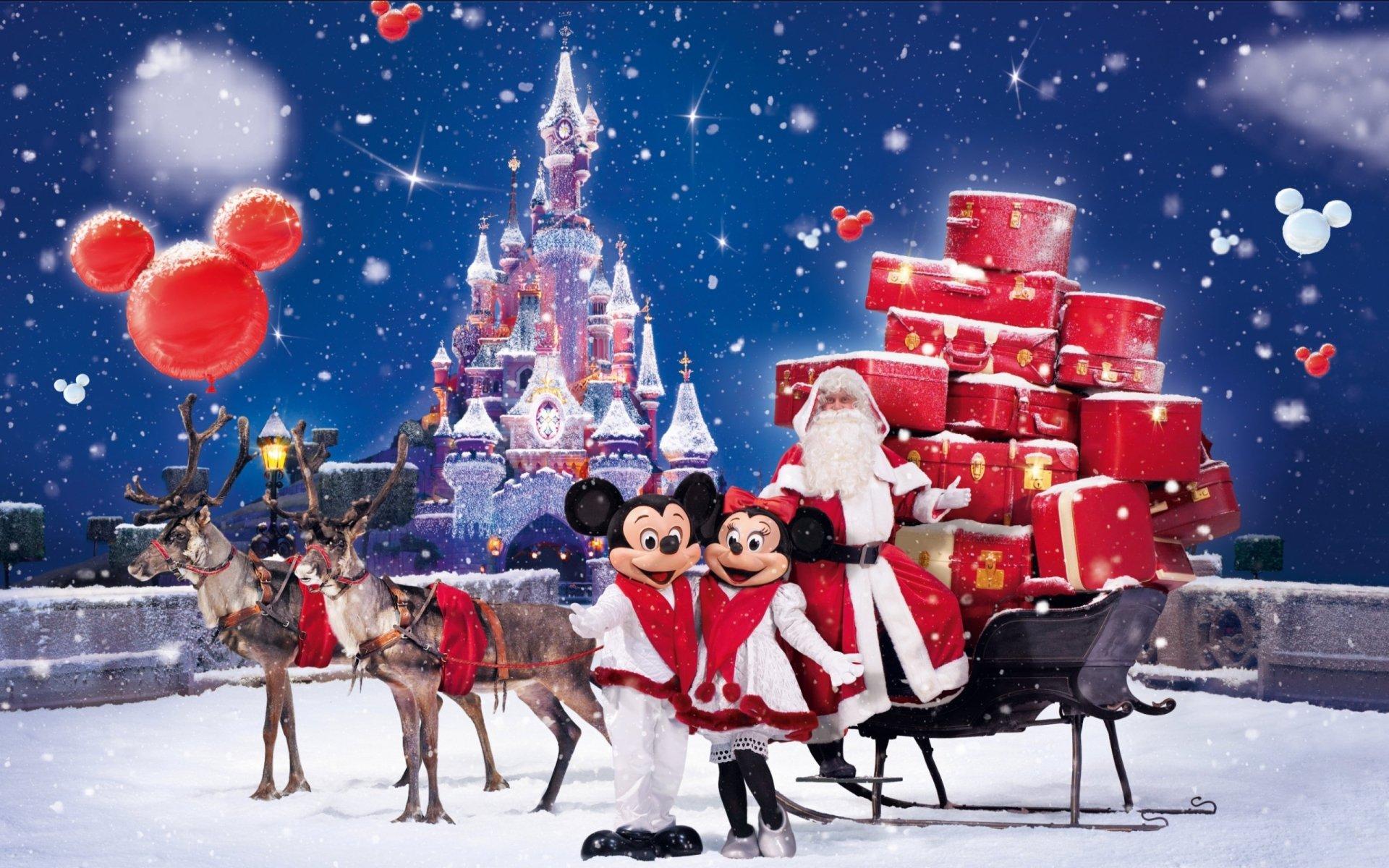 节日 - 圣诞节  迪斯尼乐园 Santa Reindeer Sleigh 壁纸
