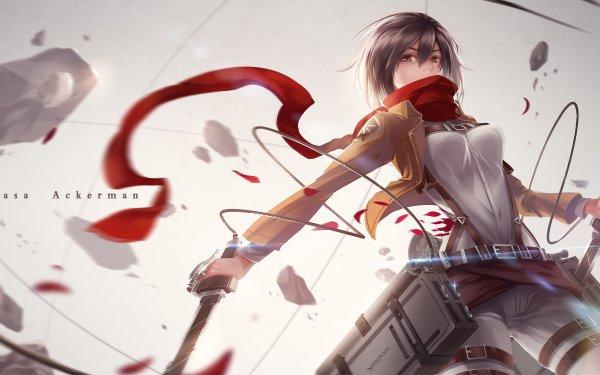 Anime Attack On Titan Mikasa Ackerman Shingeki No Kyojin Black Hair Scarf Sword Jacket Brown Eyes HD Wallpaper | Background Image