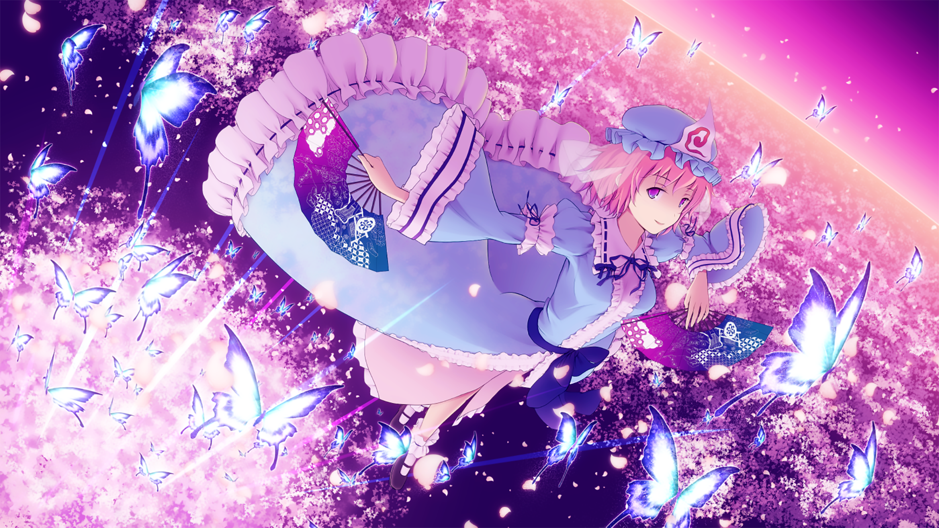 Anime - Touhou  Anime Woman Pretty Pink Butterfly Short Hair Scenic Pink Eyes Fan Yuyuko Saigyouji Wallpaper