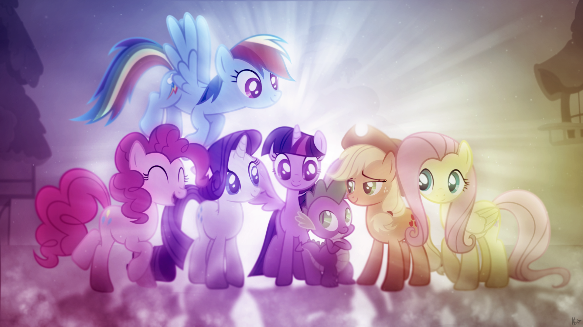TV Show - My Little Pony: Friendship is Magic  Dragon Fluttershy (My Little Pony) My Little Pony Princess Twilight Sparkle Applejack (My Little Pony) Twilight Sparkle Rainbow Dash Pinkie Pie Rarity (My Little Pony) Vector Wallpaper