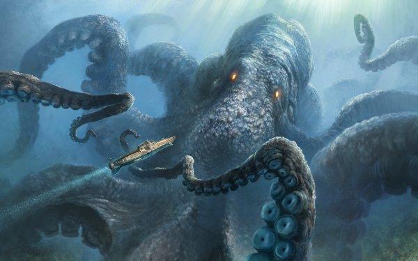 Fantaisie Monstre Marin Kraken Fond d'écran HD | Arrière-Plan