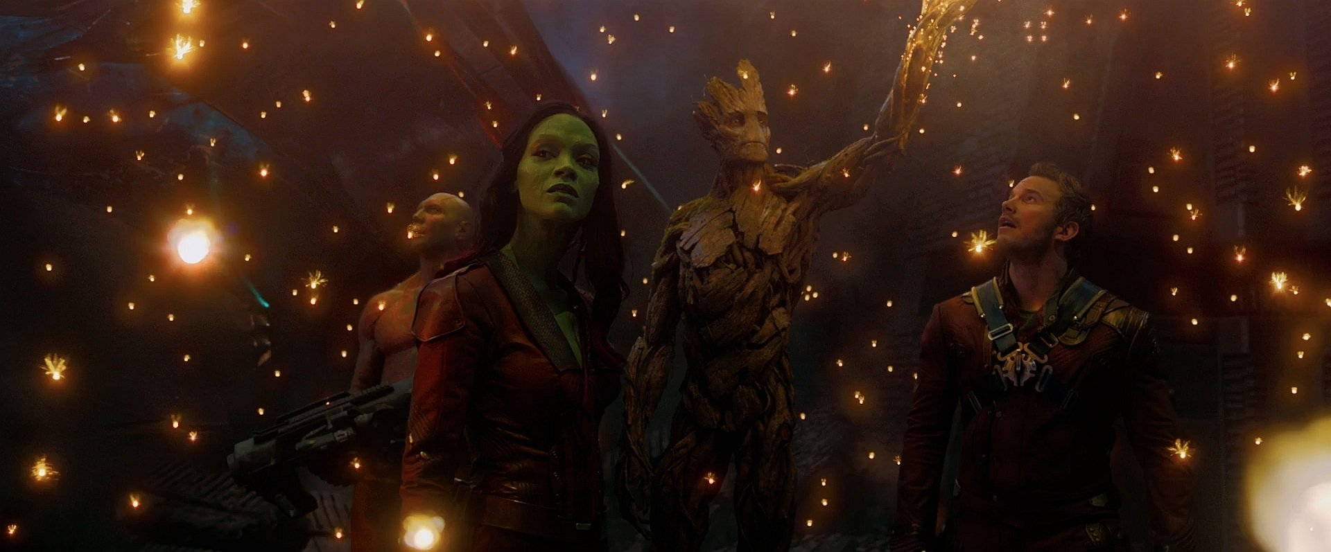 Movie - Guardians of the Galaxy  Drax The Destroyer Groot Gamora Zoe Saldana Chris Pratt Peter Quill Dave Bautista Wallpaper