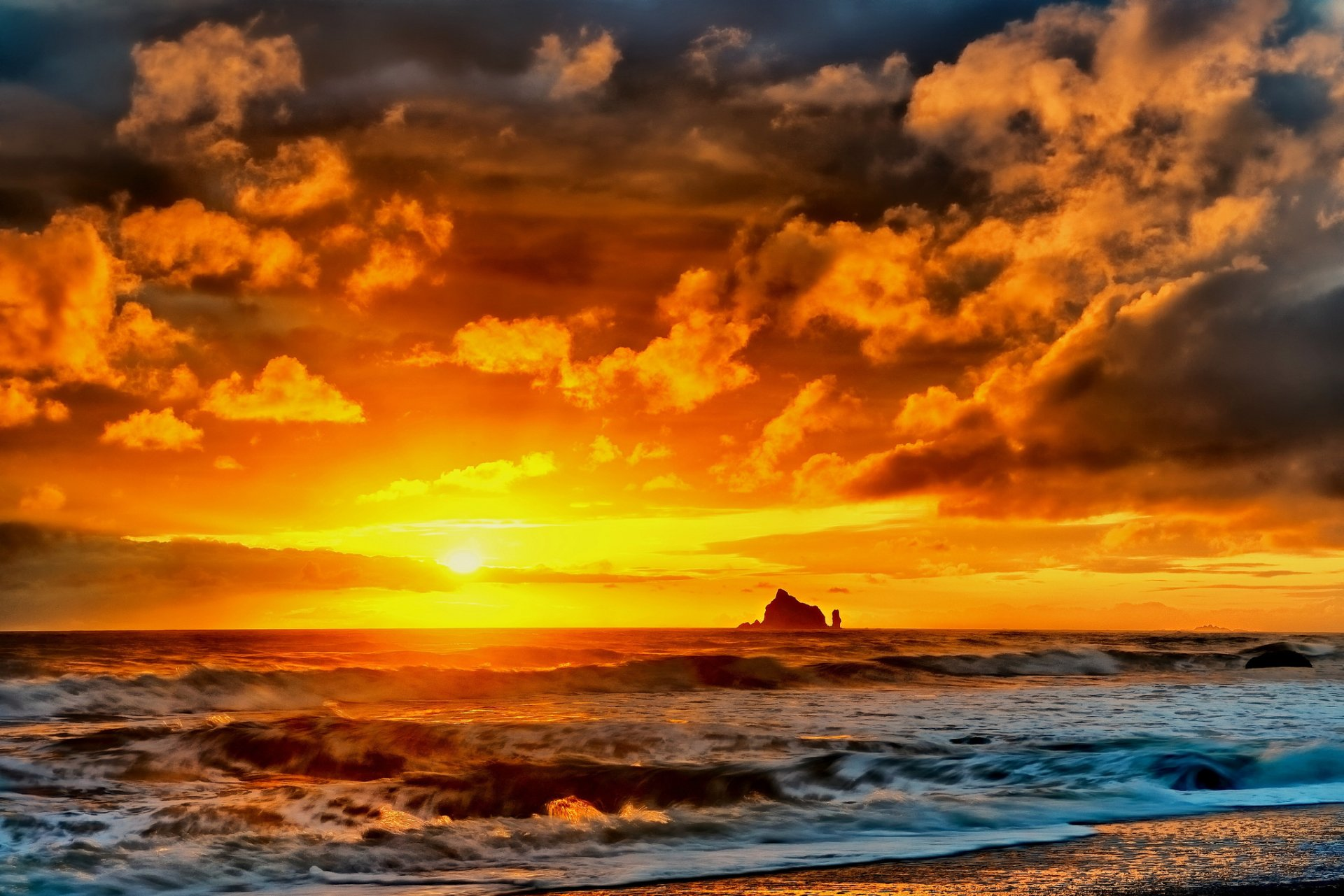 Terre/Nature - Coucher De Soleil  Sea Plage Pierre Vague Fond d'écran