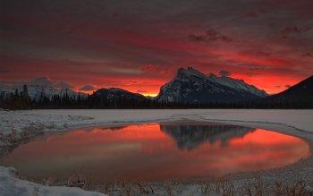 Earth Sunrise Mountain Lake Snow Reflection HD Wallpaper | Background Image