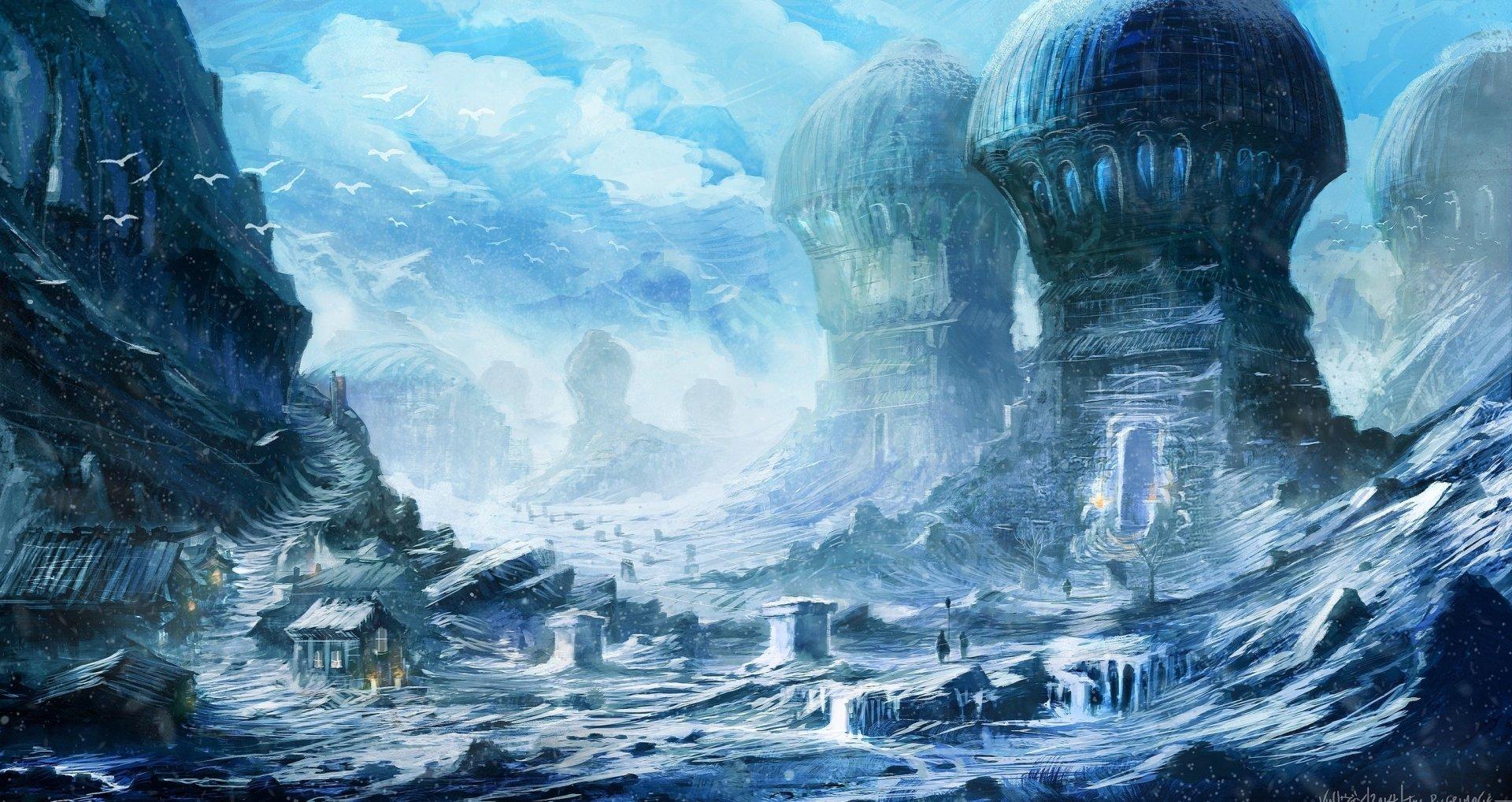 Fantasy - Landscape  Fantasy Tower Village Winter People Snow Wallpaper