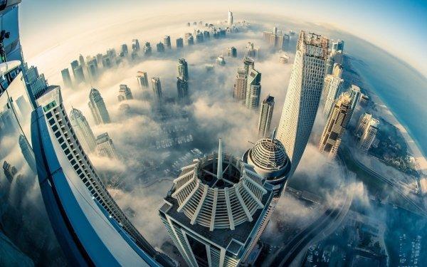 Man Made Dubai Cities United Arab Emirates Emirates Sheikh Zayed Avenue Fog HD Wallpaper | Background Image
