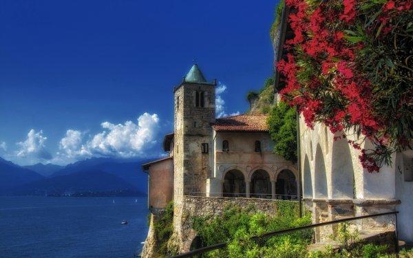 Man Made Villa Mountain Italy Lombardy Lake Monastery HD Wallpaper   Background Image