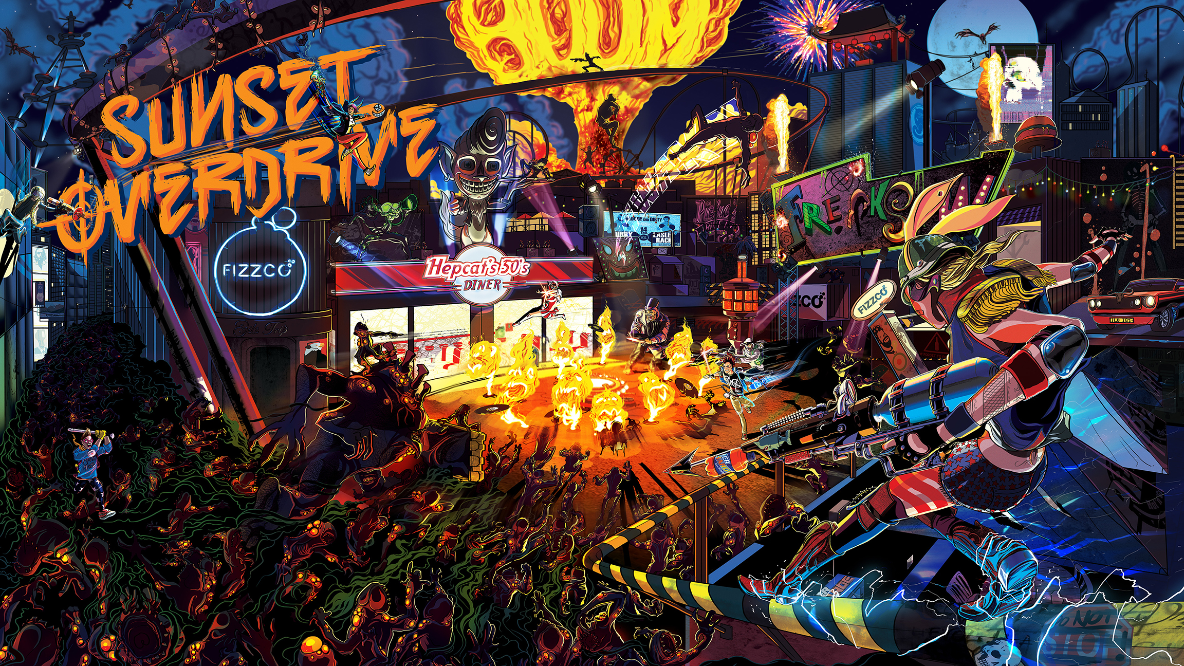 sunset overdrive iphone 6 wallpaper