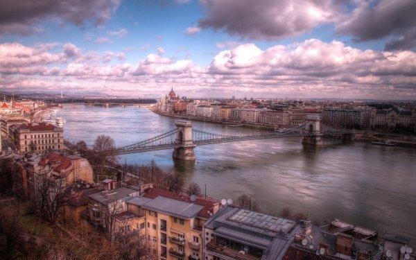 Man Made Budapest Cities Hungary Danube Bridge Chain Bridge HD Wallpaper | Background Image