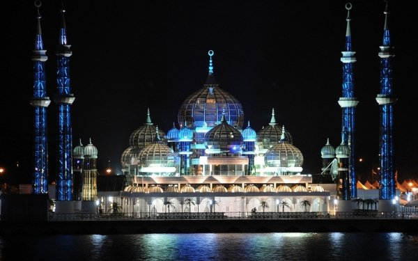 Religious The Crystal Mosque  Mosques Mosque Malaysia HD Wallpaper | Background Image