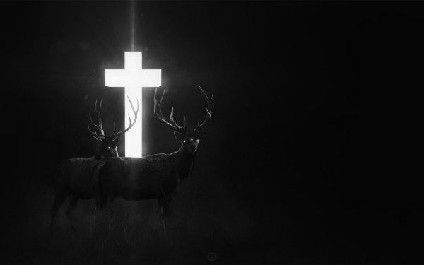 Fantaisie Cerf Animaux Fantastique Animaux Sombre Croix Fond d'écran HD   Arrière-Plan