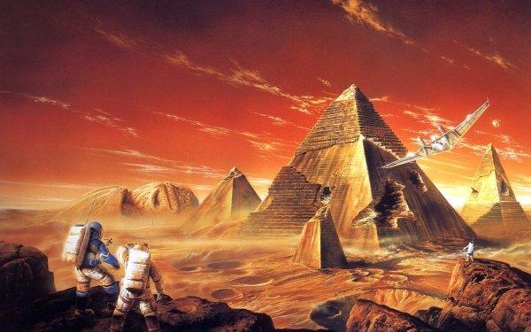 Ciencia ficción Astronauta Pirámide Cara Desierto Ruina Fondo de pantalla HD | Fondo de Escritorio