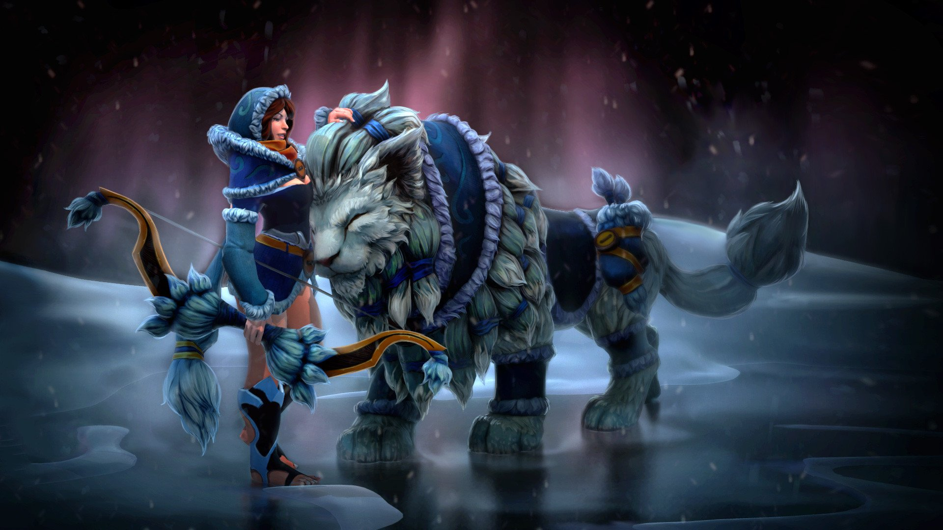 Video Game - DotA 2  Lion Mirana (Dota 2) Pet Bow Winter Woman Warrior Girl Woman Fantasy Wallpaper