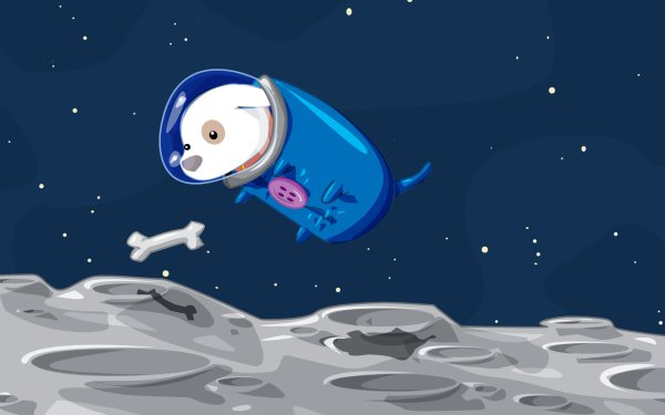 Animal Artistic Dog Bones Moon Space Space Suit HD Wallpaper | Background Image