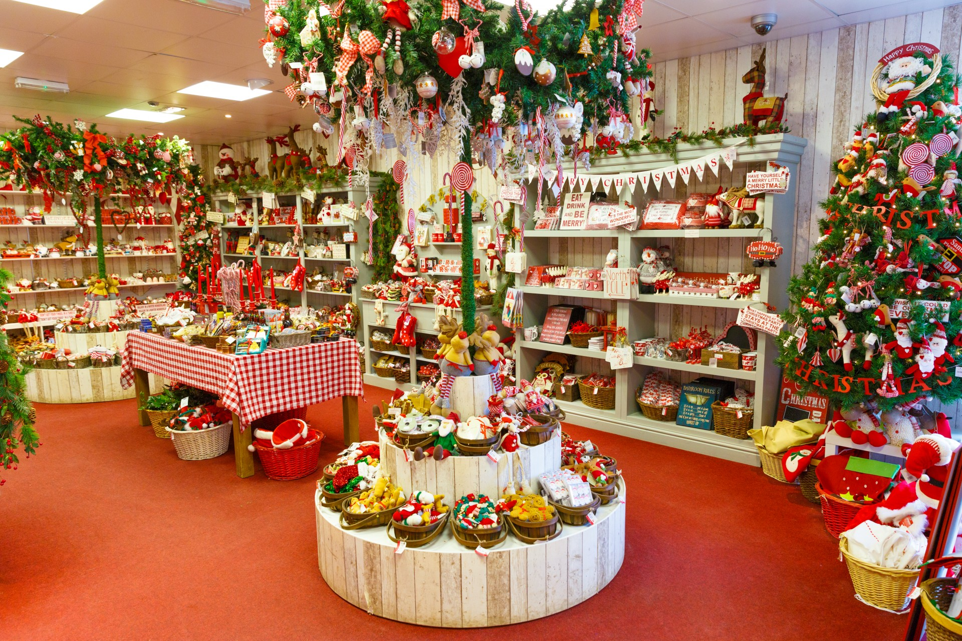 Cute little christmas shop full of decorations full hd for The christmas store