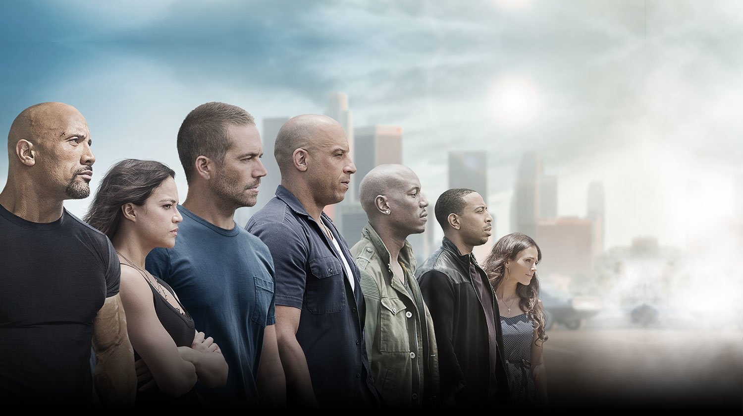 Movie - Furious 7  Mia Toretto Jordana Brewster rian O'Conner Paul Walker Roman Pearce Tyrese Gibson Letty Ortiz Michelle Rodriguez Tej (Fast & Furious) Ludacris Luke Hobbs Dwayne Johnson Dominic Toretto Vin Diesel Wallpaper