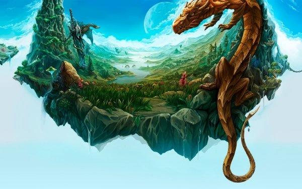 Fantasy Dragon Floating Landscape Island HD Wallpaper | Background Image