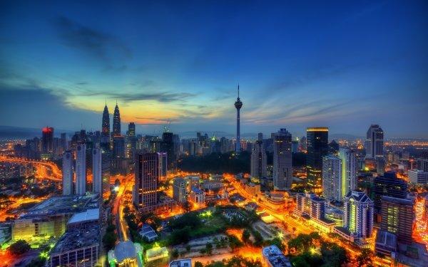 Man Made Kuala Lumpur Cities Malaysia Petronas Towers Twilight Night HD Wallpaper | Background Image