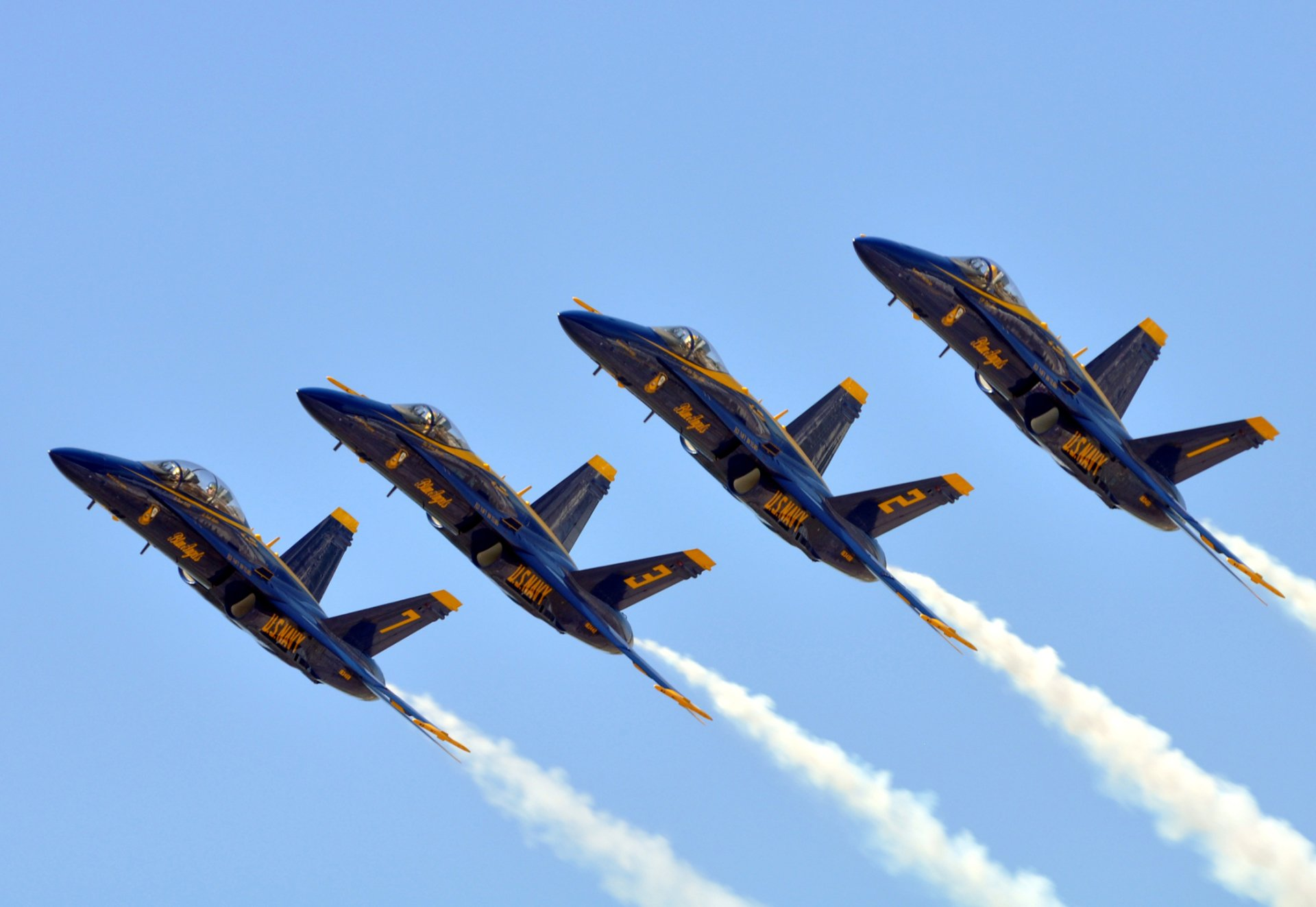Military - Air Show  Blue Angels Aircraft Navy Military McDonnell Douglas F/A-18 Hornet Airplane Smoke Wallpaper