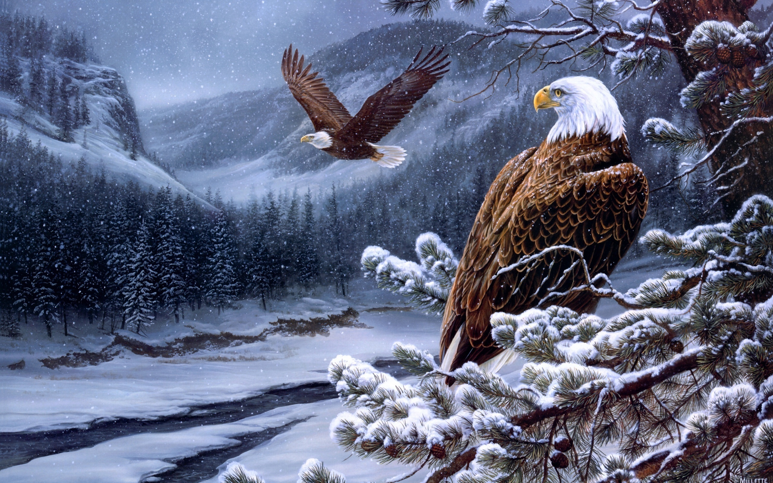Animal - Eagle  Bird Painting Artistic Winter Wallpaper